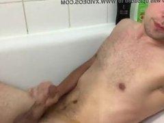 Danish Boy, Frederik: Pisses/Syringes Sperm (Coming) On Himself In Bathtub