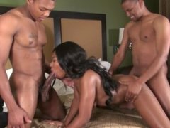 Horny ebony babe Destiny Blaze gets double penetrated with big black dicks