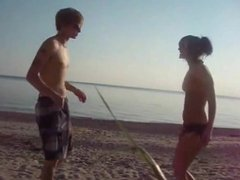 Ballbusting On Beach