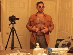 Don Stone In Beige Leather Jacket Shades & Dress Pants Masturbating