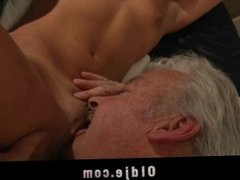 Fat grandpa's big cock hard sucked by horny gorgeous babe