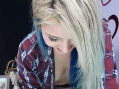 Teen Blonge Girl in Shirt and School Uniform playing on Cam