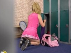 Sexy Cheerleader teen in too short minidress & thong in the changing room !