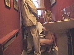 BEAUTIFUL BLONDE TOILET SLAVE ALLOWS HER MOUTH TO BE URINAL FOR ANOTHER MAN