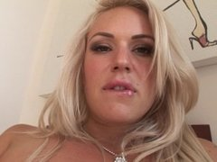 Sexy blonde MILF Bella Rose teases her pussy with vibrator