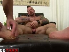 Men feet suck and gay fat black master white male slave licks feet and