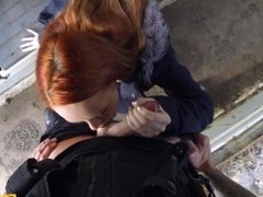 British redhed farm girl rides policeman's dick