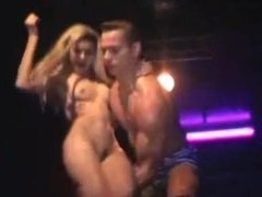 Blonde stripped by two guys