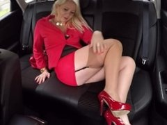 Driver escorting provocative blonde mature in his car ! she is seduces him!