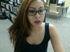 Schoolgirl masturbating In Public Library