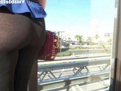 See-through leggings visible thong booty 23