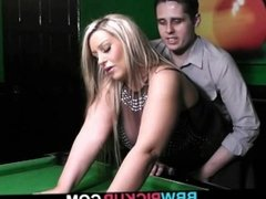 BBW in stockings likes it on the pool table