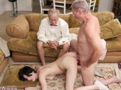 Redhead old man and old man bang and old mom young friend and brunette