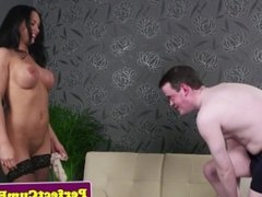 Busty glam euro facialized after sucking dick