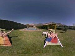 VR Porn Lesbian summer: Dildo Lovers  Virtual Porn 360