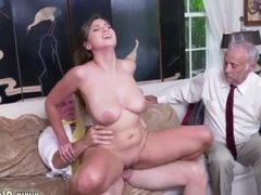 Busty young old and old hairy pussy fuck and old man fingers young girl