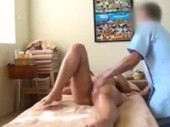 girls suck and fucks a guy after getting a massage gets cum in cunt