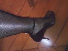 fishnet stockings black heels