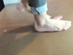 Very sexy cockcrush dance with barefeet and cumshot