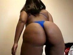 Sexy Ebony bbw jiggling in daddys lingerie