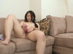 Japanese cougar toys her ass and pussy before getting fucked and creampie