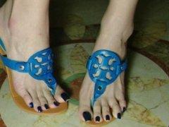 Taiwan Feetgoddess Hight heel thongs sandal (Blue nails)