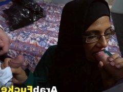 Desperate Big Tits Arab Girl Takes Two Big Cocks For Cash