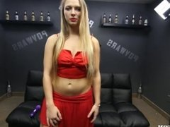 Sexy blonde Takes on 5 guys in POV Train