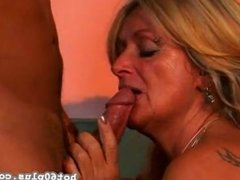 Blonde Mature plays with toys before rough sex with a young cock to ride !