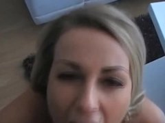 Amateur Blonde Babe's Huge Facial Cumshot - POV