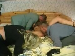 Hot foursome group sex with two young men, a granny who ll teach to a teen!