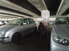 Amateur public parking lot blowjob