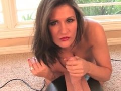 Sexy horned up Milf sucks on her Sybian before she takes a ride