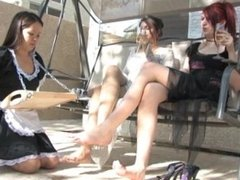 maid outdoor foot worship