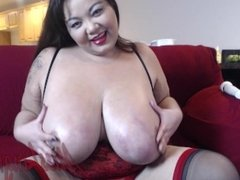 Big Tit Asian BBW MILF Goddess Fucks Her Hairy Pussy Until She Cums