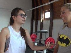 Pornstars Christen Courtney and Harriet Sugarcookie fun in the gym