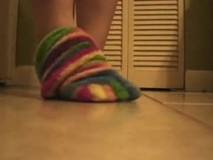Knee High Fuzzy Rainbow Toed Socks Tease