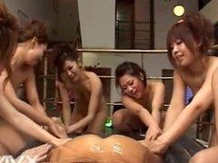 6 Japanese girls - massage, blowjob, fuck