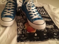 Blue Converse crush apple on a T-Shirt
