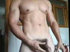 Chinese cute muscular boy having handjob in webcam