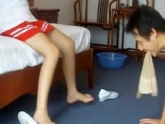 Chinese teen cosplay nurse makes slave worship her feet