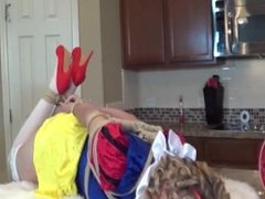 Blonde Woman tied on the kitchen table