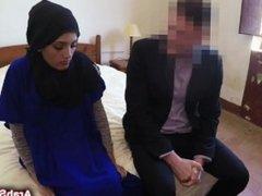 Slutty Arabian girl fucked from behind in hotel room