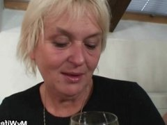 Boozed old granny seduces her son-in-law