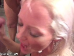 British chicks Layla and Chantelle get faces full of cum