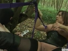 Hot horny mistress orders cuckold slave to watch her fuck a real big cock