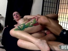 Busty tatooed mistress dominating male slave, playing and fucking him