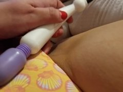 Solo Play w/Pussy Video Vibrator and Oil Rub on Shaved Pussy MUSIC