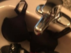 pee and cum on bra shoe and pantie