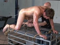 BDSM piss play and machine fucking with sexy scottish lad